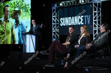 Charlie Collier, AMC president and general manager, from left, Jim Mickle, executive producer/writer/director, Christina Hendricks and James Purefoy participate in a panel for 'Hap and Leonard' during the AMC 2016 Winter TCA, in Pasadena, Calif