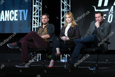 Executive producer/writer/director Jim Mickle, from left, Christina Hendricks and James Purefoy participate in a panel for 'Hap and Leonard' during the AMC 2016 Winter TCA, in Pasadena, Calif