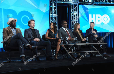 "Director Rick Famuyiwa, from left, Greg Kinnear, Kerry Washington, Wendell Pierce, writer/executive producer Susannah Grant and executive producer Michael London participate in the panel for ""Confirmation"" at the HBO 2016 Winter TCA, in Pasadena, Calif"
