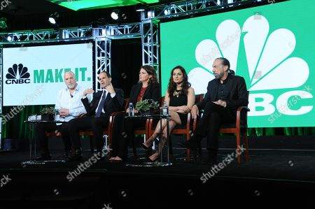 "Jim Ackerman, from left, Marcus Lemonis, Elizabeth Blau, Farnoosh Torabi and John Paul DeJoria participate in CNBC's ""CNBC Primetime"" panel at the NBCUniversal Winter TCA, Pasadena, Calif"