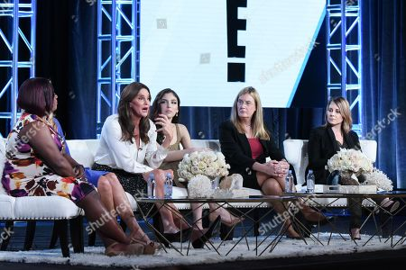 """Chandi Moore, Candis Cayne, Caitlyn Jenner, Ella Giselle, Jennifer Finney Boylan and executive producer Andrea Metz participate in E!'s """"I Am Cait"""" panel at the NBCUniversal Winter TCA, Pasadena, Calif"""