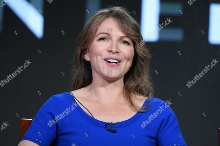 """Executive producer Natalie Chaidez participates in Syfy's """"Hunters"""" panel at the NBCUniversal Winter TCA, Pasadena, Calif"""