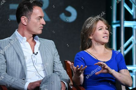 """Actor Julian McMahon, left, and executive producer Natalie Chaidez participate in Syfy's """"Hunters"""" panel at the NBCUniversal Winter TCA, Pasadena, Calif"""