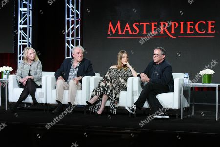 "Stock Picture of Producer Suzanne Simpson, from left, actors Michael Gambon, Romola Garai and director Charles Sturridge participate in the ""Churchill's Secret"" panel at the PBS Winter TCA on Monday, Jan.18, 2016, in Pasadena, Calif"
