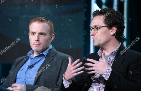 Stock Image of Executive producer/showrunner Jonathan E. Steinberg, left, and executive producer Robert Levine participate in the panel for 'Black Sails' at the STARZ 2016 Winter TCA, in Pasadena, Calif