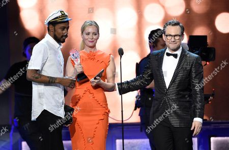 Keith Stanfield, from left, interrupts as Leslie Mann, and Christian Slater present the award for best comedy series at the 22nd annual Critics' Choice Awards at the Barker Hangar, in Santa Monica, Calif