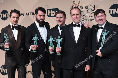 Julian Ovenden, from left, Tom Cullen, Allen Leech, Kevin Doyle, and Jeremy Swift pose in the press room with their awards for Outstanding Performance by an Ensemble in a Drama Series for Downton Abbey at the 22nd annual Screen Actors Guild Awards at the Shrine Auditorium & Expo Hall, in Los Angeles