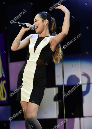 """Jessica Sanchez performs at the 23rd annual """"A Night at Sardi's"""" to benefit the Alzheimer's Association at the Beverly Hilton Hotel, in Beverly Hills, Calif"""