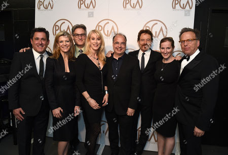 EXCLUSIVE -Stewart A. Lyons, from left, Michelle MacLaren, Peter Gould, Moira Walley-Beckett, Thomas Schnauz, Bryan Cranston, Melissa Bernstein, and Mark Johnson pose with the Norman Felton award for outstanding producer of episodic television drama for â?œBreaking Badâ?? at the 26th Annual Producers Guild Awards at the Hyatt Regency Century Plaza, in Los Angeles