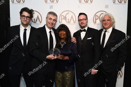 EXCLUSIVE -Garrett Basch, from left, Steve James, Chaz Ebert, Zak Piper, and Mark Mitten pose with the award for outstanding producer of documentary theatrical motion picture for Life Itself at the 26th Annual Producers Guild Awards at the Hyatt Regency Century Plaza, in Los Angeles