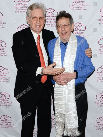 Stock Photo of Tibet House president Robert Thurman, left, and composer Philip Glass attend the 26th Annual Tibet House Benefit Gala after party at Gotham Hall, in New York
