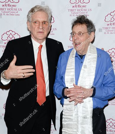 Tibet House president Robert Thurman, left, and composer Philip Glass attend the 26th Annual Tibet House Benefit Gala after party at Gotham Hall, in New York