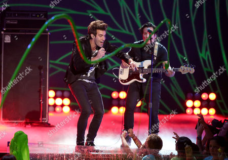 Stock Picture of Zachary Barnett of American Authors performs on stage at the 27th annual Kids' Choice Awards at the Galen Center, in Los Angeles