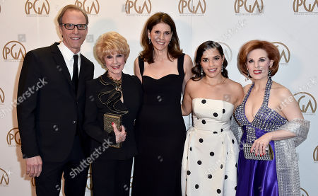 Gil Kofman, from left, Karen Kramer, Amy Ziering, America Ferrera, and Kat Kramer at the 27th annual Producers Guild Awards at the Hyatt Regency Century Plaza, in Los Angeles