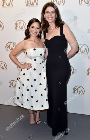 EXCLUSIVE -America Ferrera, left, and Amy Ziering at the 27th annual Producers Guild Awards at the Hyatt Regency Century Plaza, in Los Angeles
