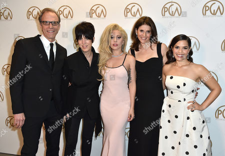 Kirby Dick, from left, Diane Warren, Lady Gaga, Amy Ziering and America Ferrera pose backstage at the 27th annual Producers Guild Awards at the Hyatt Regency Century Plaza, in Los Angeles