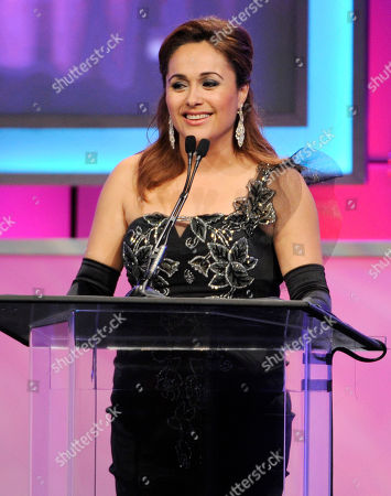 Elizabeth Espinosa presents the award for best national informational program on stage at the 29th annual Imagen Awards at the Beverly Hilton Hotel, in Beverly Hills, Calif