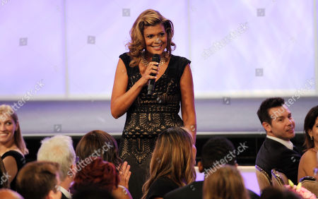 Aida Rodriguez speaks in the audience at the 29th annual Imagen Awards at the Beverly Hilton Hotel, in Beverly Hills, Calif