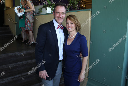Tim DeKay, left, and wife Elisa Taylor are seen at the 30th Running of the Breeders' Cup World Championships Day 2, on in Arcadia, Calif