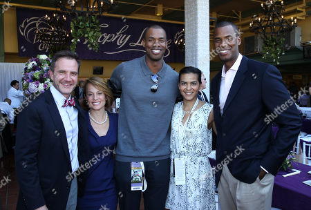 From left, Tim DeKay, Elisa Taylor, Jason Collins, Elsa Collins, and Jarron Collins are seen at the 30th Running of the Breeders' Cup World Championships Day 2, on in Arcadia, Calif