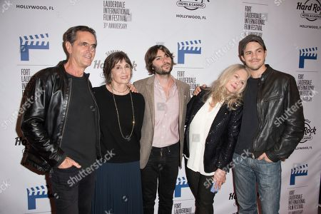 """Stock Photo of Robin Thomas, from left, Talia Shire, Robert Schwartzman, Beverly D'Angelo, and Johnny Simmons attend the 31st Annual FLIFF - Opening Night Premiere of """"Dreamland"""" at Seminole Hard Rock Live, in Hollywood, Fla"""
