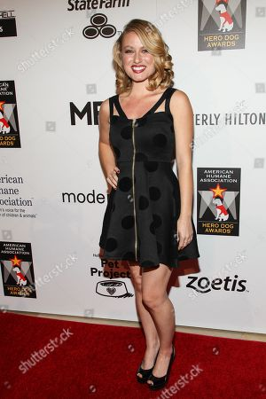 Stock Image of Actress Christie Brooke arrives at the 3rd Annual American Humane Association Hero Dog Awards at the Beverly Hilton Hotel on in Beverly Hills, Calif