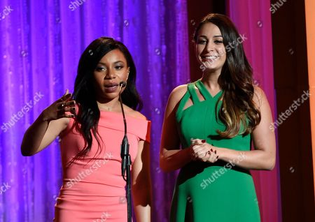 Shalita Grant, left, and Monica Ten-Kate speak at the 41st annual Gracie Awards Gala at the Beverly Wilshire Hotel, in Beverly Hills, Calif