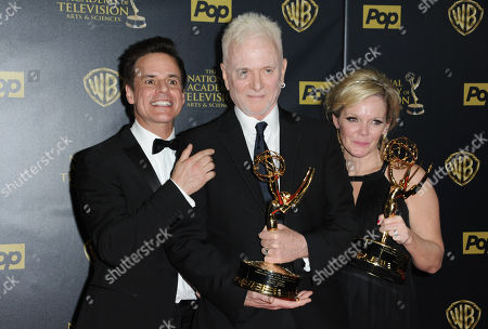 "Christian Jules Le Blanc, left, poses with Anthony Geary and Maura West, right, winners of the awards for outstanding lead actor and actress in a drama series for ""General Hospital"", at the 42nd annual Daytime Emmy Awards at Warner Bros. Studios, in Burbank, Calif"