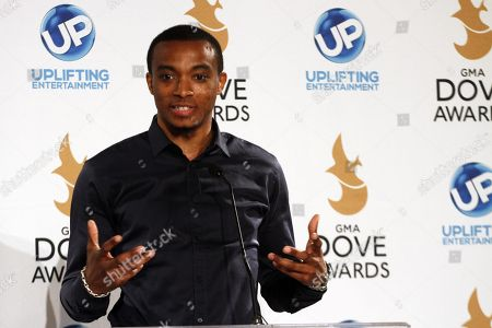 Jonathan McReynolds attends the press room at the 44th Annual GMA Dove Awards at the Lipscomb University's Allen Arena on in Nashville, Tenn