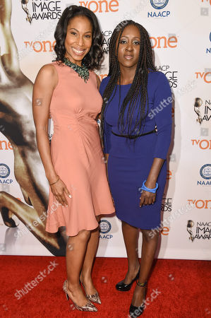 Stock Picture of Sharon Brathwaite, left and Peres Owino attend the 46th NAACP Image Awards Nominees' Luncheon at The Beverly Hilton Hotel, in Beverly Hills, Calif