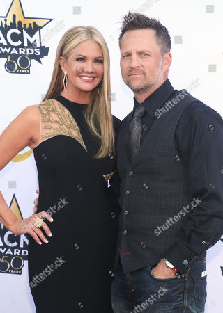 Stock Photo of Nancy O'Dell, left, and Keith Zubulevich arrive at the 50th annual Academy of Country Music Awards at AT&T Stadium, in Arlington, Texas