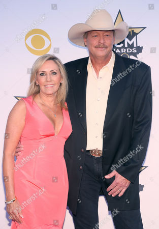 Denise Jackson, left, and Alan Jackson arrive at the 50th annual Academy of Country Music Awards at AT&T Stadium, in Arlington, Texas