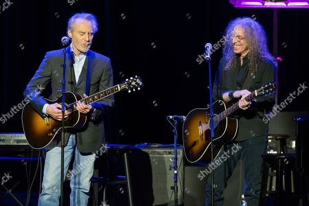"""Stock Photo of Musicians J. D. Souther, left, and Waddy Wachtel perform on stage during the 16th Annual GRAMMY Foundation Legacy Concert """"A Song Is Born,"""" on in Los Angeles"""