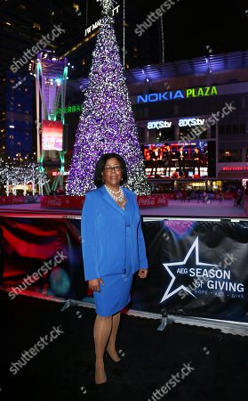 Los Angeles city councilwoman Jan Perry attends the 5th annual Holiday Tree Lighting at L.A. Live and opening of LA Kings Holiday Ice, in Los Angeles