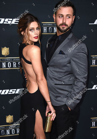 Ashley Greene, left, and Paul Khoury arrive at the 5th annual NFL Honors at the Bill Graham Civic Auditorium, in San Francisco