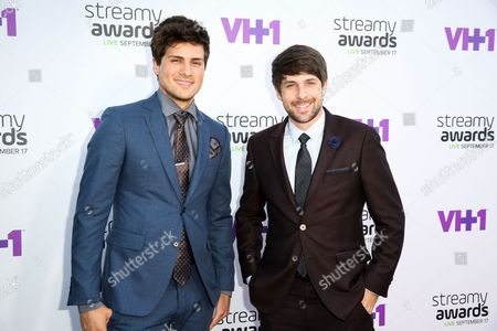 Anthony Padilla, left, and Ian Andrew Hecox arrive at the 5th Annual Streamy Awards at the Hollywood Palladium, in Los Angeles