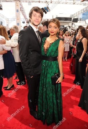 From left, Matt Prokop Sarah Hyland arrives at the 65th Primetime Emmy Awards at Nokia Theatre, in Los Angeles