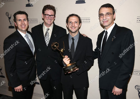 Stock Picture of From left, Jay LeBoeuf, Bob Bronow, CEO of iZotope Mark Ethier, and Academy Committee member Frank Morrone are seen at the 65th Primetime Emmy Engineering Awards,, at Loews Hollywood Hotel, in Hollywood, Calif