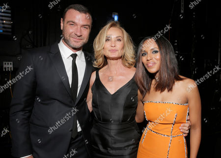 Actor Liev Schreiber, and from left actresses Jessica Lange and Kerry Washington backstage at the 66th Primetime Emmy Awards at the Nokia Theatre L.A. Live, in Los Angeles