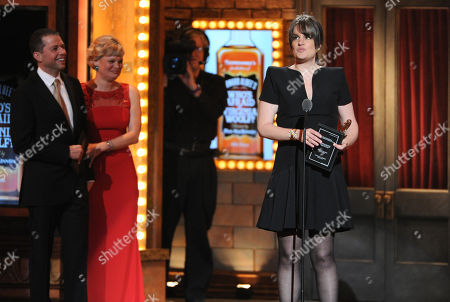 "Jon Cryer, left, and Martha Plimpton, right, present the Tony for best direction of a play to Pam MacKinnon for ""Who's Afraid of Virginia Woolf,"" at the 67th Annual Tony Awards, on in New York"
