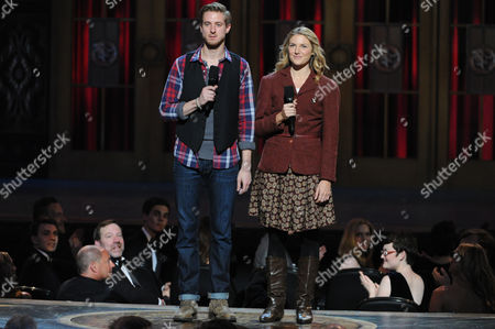 "Arthur Darvill, left, and Joanna Christie, right, from ""Once"" present at the 67th Annual Tony Awards, on in New York"