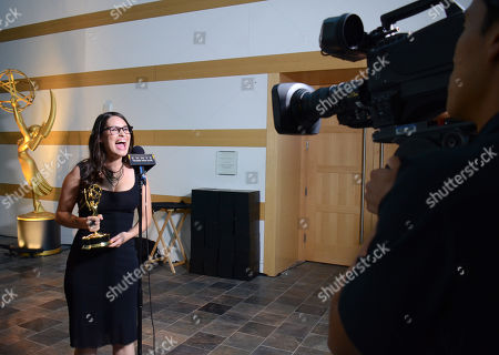 """Cara Santa Maria, of KCET, winner of the award for feature segment for """" Natural History Museum's Citizen Science Insect Labeling Project"""" participates in an interview at the 67th Los Angeles Area Emmy Awards at the Skirball Cultural Center on"""