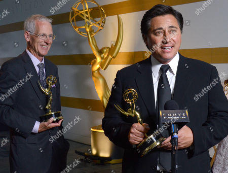 """Members of NBC4, Patrick Healy, left, and Tony Shin, winners of the award for education for """"Running Dry: California's Historic Drought"""" participate in an interview at the 67th Los Angeles Area Emmy Awards at the Skirball Cultural Center on"""