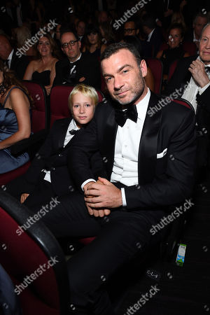 Alexander Pete Schreiber, left, and Liev Schreiber appear in the audience at the 68th Primetime Emmy Awards, at the Microsoft Theater in Los Angeles