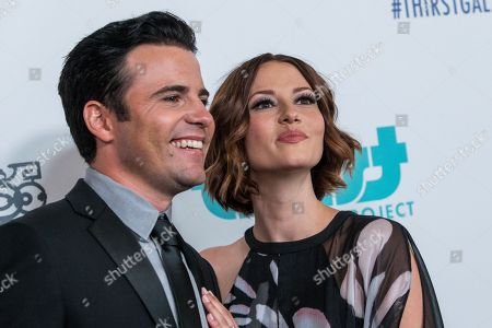 Nathan West, left, and Chyler Leigh attend the 6th Annual Thirst Gala at The Beverly Hilton Hotel on in Beverly Hills, Calif