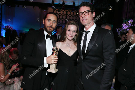 """Jared Leto, Screenplay Writer Melisa Wallack and Screenplay Writer Craig Borten seen at the 71st Annual Golden Globe Awards â?"""" NBC/Universal/Focus Features/E! Entertainment/Chrysler After Party on in Los Angeles"""