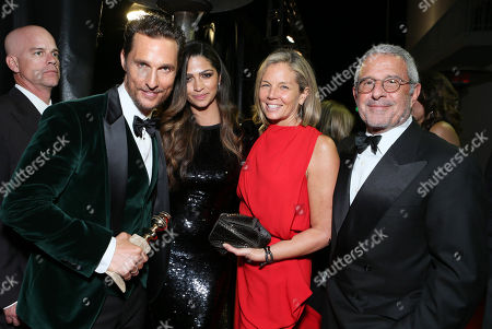 "Matthew McConaughey, Camila Alves, Kelly Meyer and Universal's Ron Meyer seen at the 71st Annual Golden Globe Awards â?"" NBC/Universal/Focus Features/E! Entertainment/Chrysler After Party on in Los Angeles"