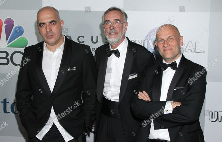 Zaza Urushadze, from left, Lembit Ulfsak, and Ivo Felt arrive at the NBCUniversal Golden Globes afterparty at the Beverly Hilton Hotel, in Beverly Hills, Calif