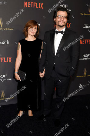 Shira Piven,left, and Adam McKay arrive at The Weinstein Company and Netflix Golden Globes afterparty, at the Beverly Hilton Hotel in Beverly Hills, Calif
