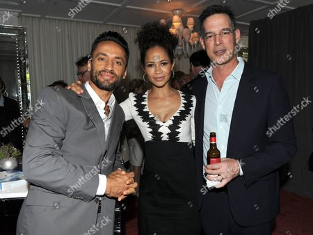 Kamar de los Reyes, left, Sherri Saum, and Tom Ascheim attend the 7th annual Television Academy Honors presented by the Television Academy at the SLS Hotel, in Beverly Hills, Calif